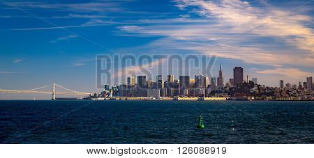 San Francisco skyline and the Bay Bridge