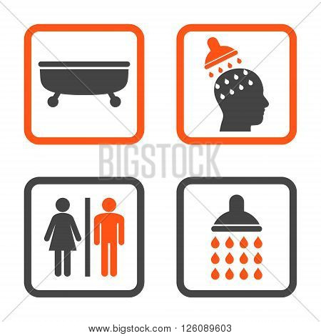 Sanitary vector bicolor icon. Image style is a flat icon symbol inside a square rounded frame, orange and gray colors, white background.