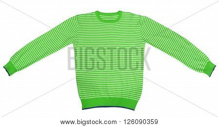Green and white striped long sleeve t-shirt isolated on white. Clipping path included.