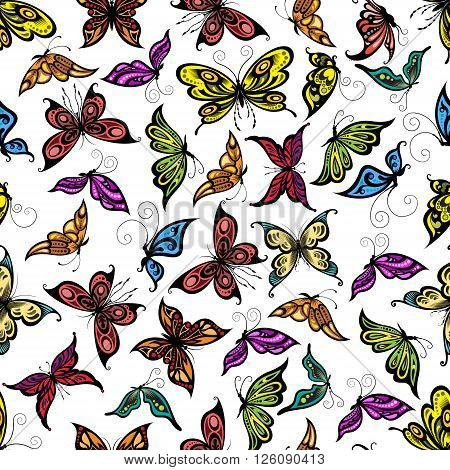 Colorful seamless flying butterflies pattern with open and close wings, adorned by openwork ornament on white background. Great for wallpaper, interior textile or nature backdrop design usage