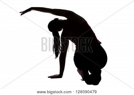 Silhouette of woman, stretching with bend on white background