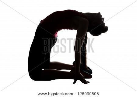 Silhouette of stretching woman on knees on white background