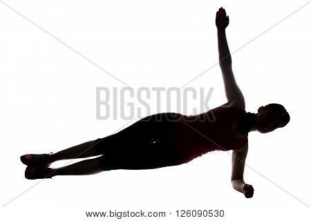 Silhouette of sport trainer doing bar on white background