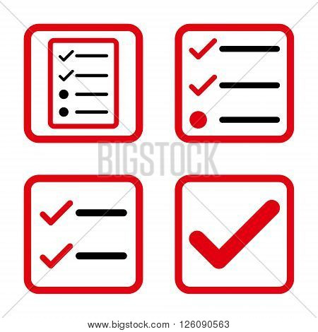 Valid vector bicolor icon. Image style is a flat icon symbol inside a square rounded frame, intensive red and black colors, white background.