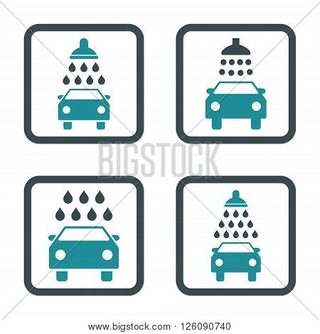 Carwash vector bicolor icon. Image style is a flat icon symbol inside a square rounded frame, soft blue colors, white background.
