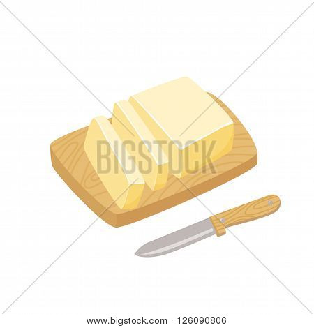 Butter stick with knife. Sliced Margarine block. Baking ingredient butter or margarine stick. Butter vector illustration. Butter on a cutting board. Food for breakfast.