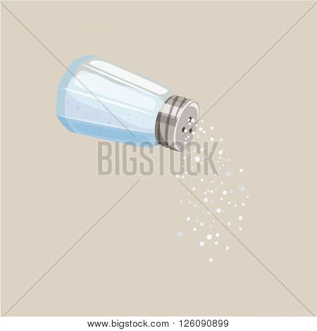 Salt shaker. Do pour salt from salt shaker. Baking and cooking ingredient. Cartoon vector illustration of salt. Food seasoning. Kitchen utensils salt shaker