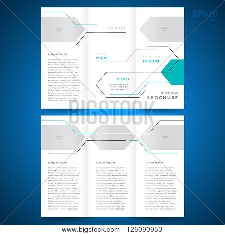 brochure design template trifold vector geometric abstract line frame for your image
