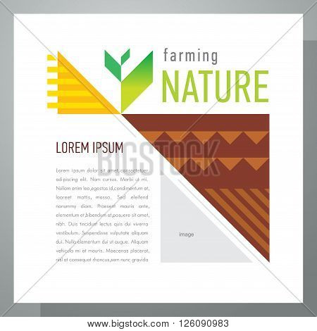 Agriculture template design. Abstract triangles elements. Flyer