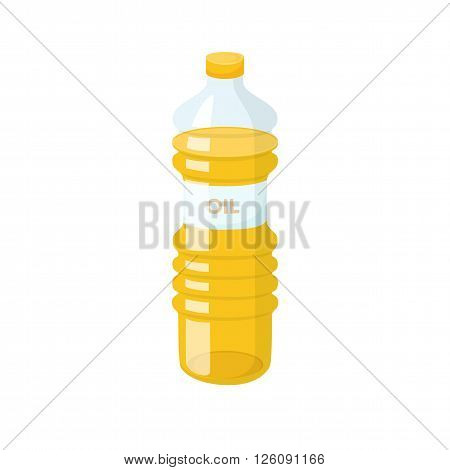 Cooking oil bottle. Baking and cooking ingredient. Cartoon vector cooking oil. Food fat bottle. Cooking oil packaging.