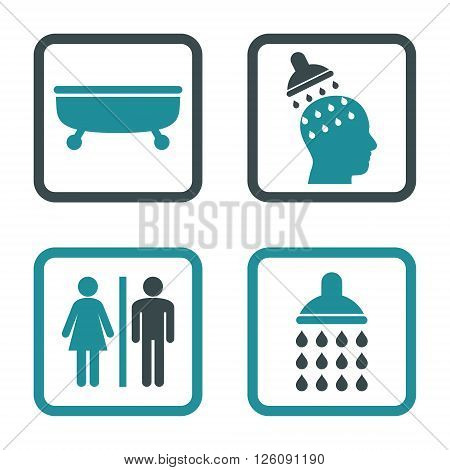 Sanitary vector bicolor icon. Image style is a flat icon symbol inside a square rounded frame, soft blue colors, white background.