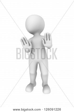 3d person shows negative gesture. 3d illustration.