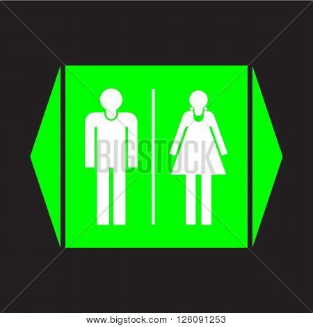 Male and female restroom sign icon on black background.