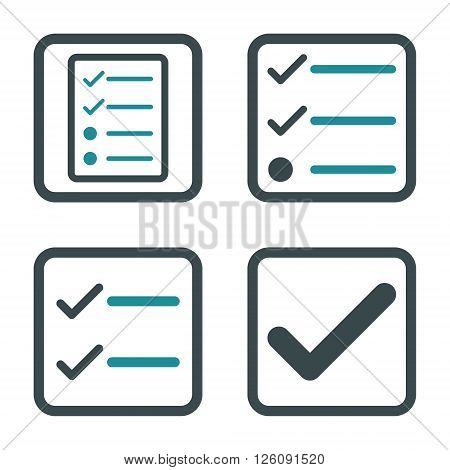 Valid vector bicolor icon. Image style is a flat icon symbol inside a square rounded frame, soft blue colors, white background.