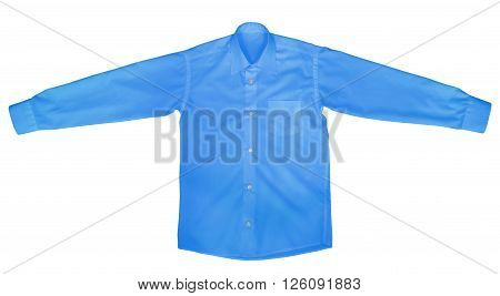Blue shirt with long sleeves isolated on white background. Clipping path included.