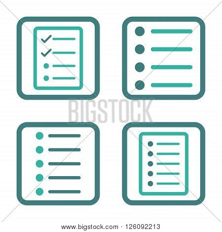 List Items vector bicolor icon. Image style is a flat icon symbol inside a square rounded frame, cobalt and cyan colors, white background.