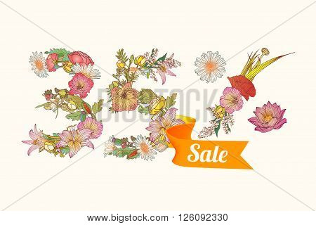 thirty five (35) percents sale. Vector floral digits