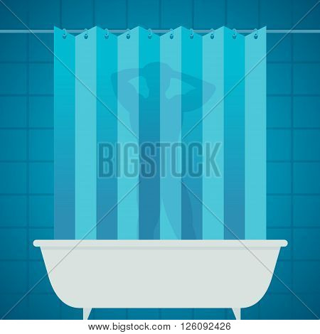 man silhouetter in shower bathing bathroom / vector no effect