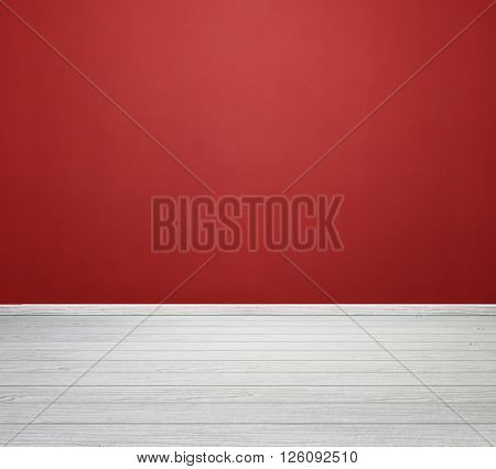 Room Interior With Red Concrete Wall And White Wood Floor