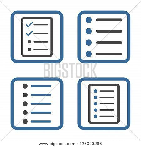 List Items vector bicolor icon. Image style is a flat icon symbol inside a square rounded frame, cobalt and gray colors, white background.