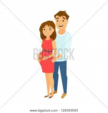 Pregnant couple. Pregnant woman and men. Happy family expecting baby. Pregnant wife and her husband. Cute family vector illustration. Cute young couple. Pregnant mom and dad. Happy couple