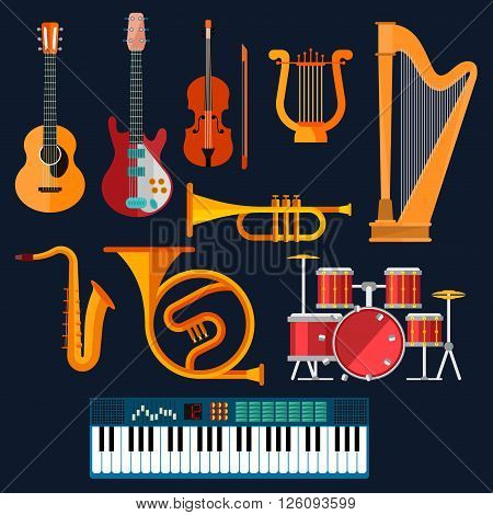 Musical instruments icons with flat symbols of drum set, acoustic and electric guitars, violin, synthesizer, saxophone, trumpet, harp, ancient lyre and horn. Art, culture, musical entertainment concept