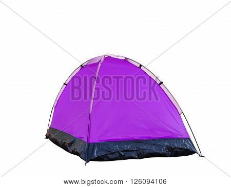 Isolated magenta dome tent on white with clipping path