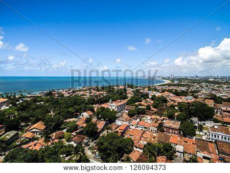 Aerial view of Olinda in Pernambuco State, Brazil