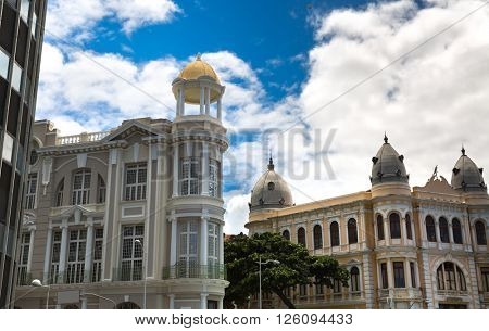 Buildings in Old Recife, located in Pernambuco state, Brazil