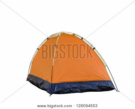 Isolated orange dome tent on white with clipping path