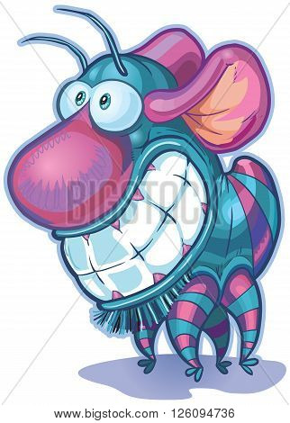 Vector cartoon clip art illustration of a cute and funny imaginary creature or monster. It has a big nose big teeth mouse ears and a body and antennae like a bug.