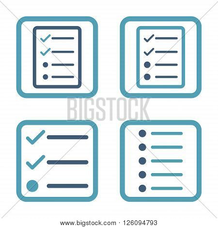 List Items vector bicolor icon. Image style is a flat icon symbol inside a square rounded frame, cyan and blue colors, white background.