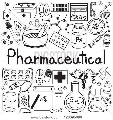 pharmaceutical and pharmacist doodle icons in white isolated paper background, create by vector