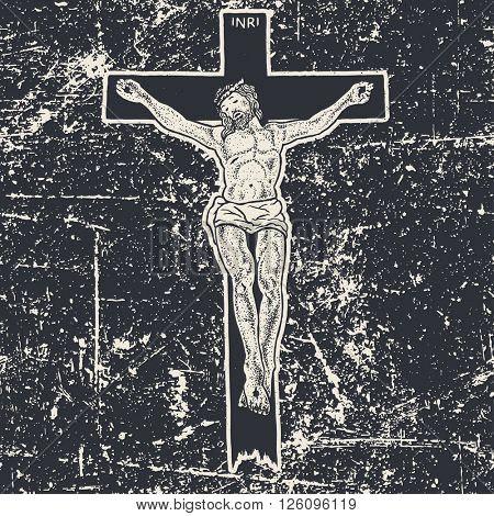 Jesus Christ crucifixion, vector illustration, black and white version