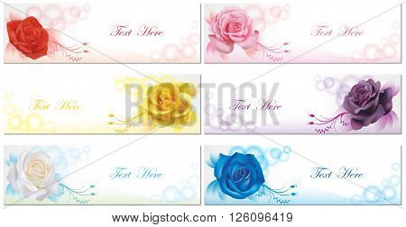6 Color roses banner background collection set in transparent background create by vector