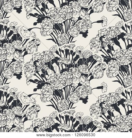 Seamless pattern with bouquets of pinks, vector illustration, black and white version