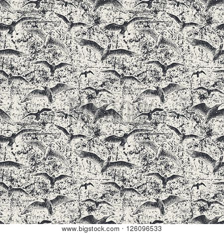 Seamless pattern with seagulls over dirty background, vector illustration
