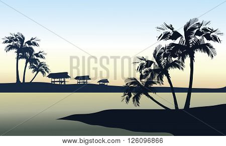 Tropical sea and gazebo landscape a beautiful