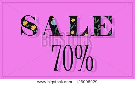Elegance Inscription Sale 70 percents. Black floral letters. Vector Illustration.
