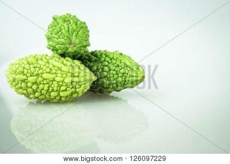 Fresh bitter gourd isolated on white background
