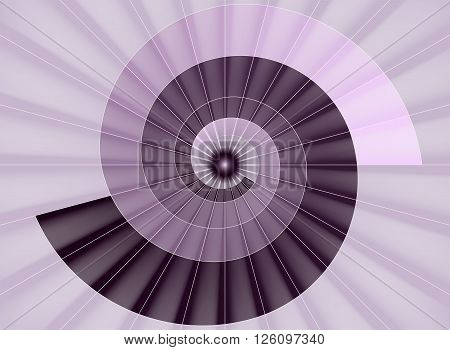 Spiral staircase pink tunnel to the light