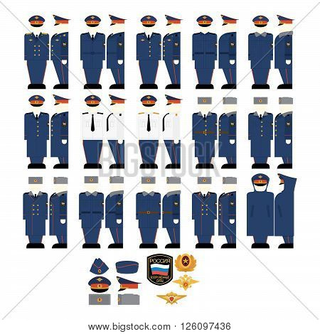 Uniforms and insignia of the Ministry of Justice. The illustration on a white background.