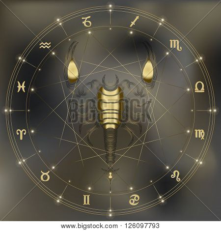 Golden scorpion zodiac Scorpio sign for astrological predestination and horoscope