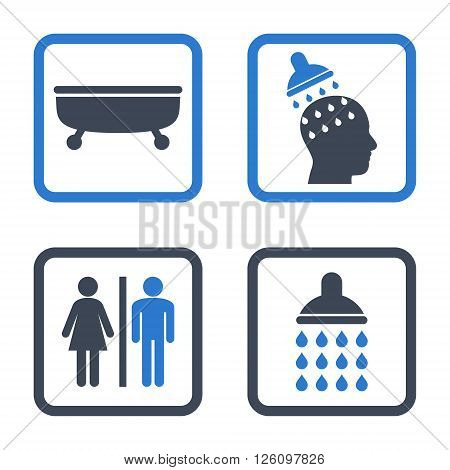 Sanitary vector bicolor icon. Image style is a flat icon symbol inside a square rounded frame, smooth blue colors, white background.