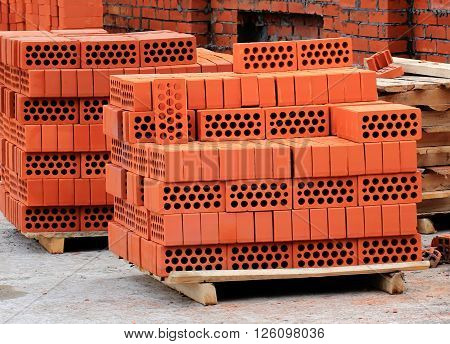 Construction materials for laying a red brick wall