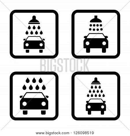 Carwash vector icon. Image style is a flat icon symbol inside a square rounded frame, black color, white background.