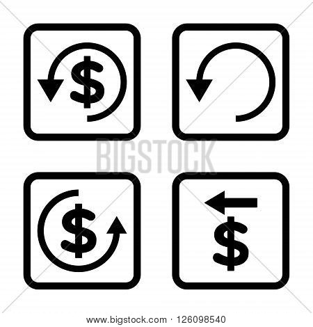 Chargeback vector icon. Image style is a flat icon symbol inside a square rounded frame, black color, white background.