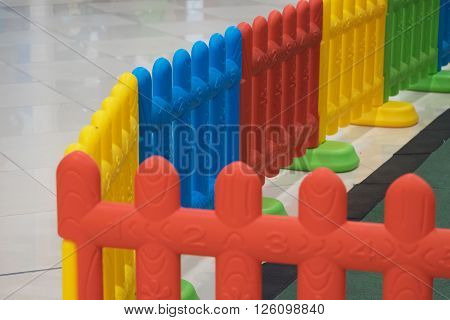 Plastic fence for baby and kid with colorful color like red yellow blue and green in playground for safety and protection/Plastic fence for kid in playground for safety