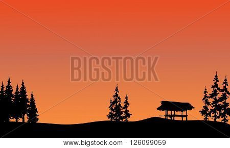 Silhouette of gazebo and spruce with orange backgrounds