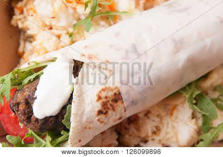 lamb wrap with home made pita and sweet rice ** Note: Soft Focus at 100%, best at smaller sizes